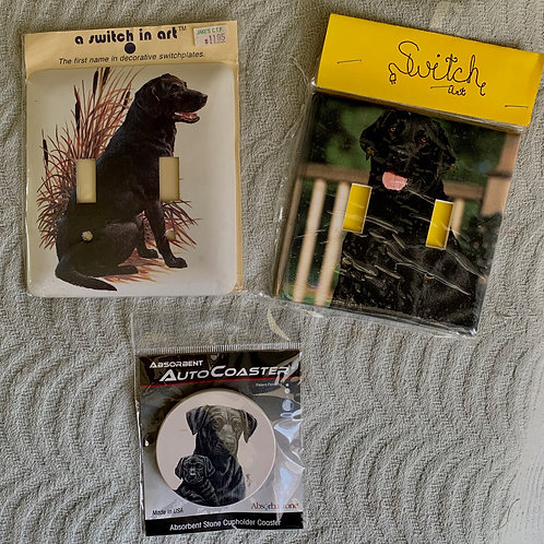 Black Lab Switch Plates and Coaster