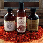 Organic herbal oils for massage and skin care.