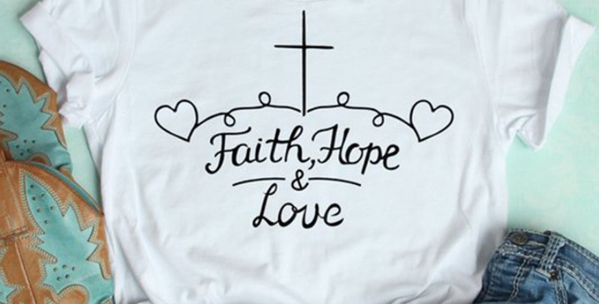 T Shirt Faith Hope & Love Cross Heart