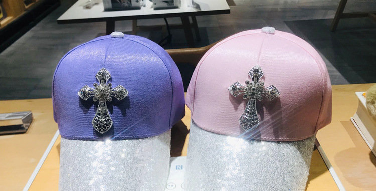 Shalom Cap Cotton Hat Crystal Cross with sequin New baseball cap outdoor