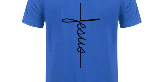 T恤 耶穌 十字架 直書法 棉質 短袖 男女春夏 基督教