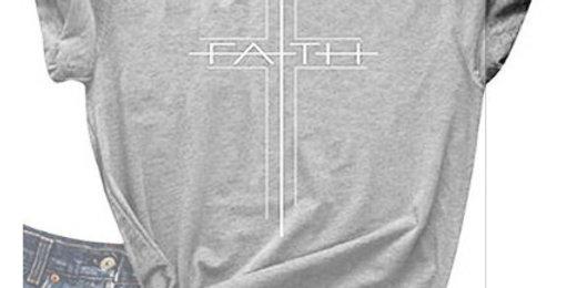 "T恤 ""信心""希伯來書11:1 耶穌 十字架 耶穌 十字架 棉質 短袖 男女春夏 基督教"