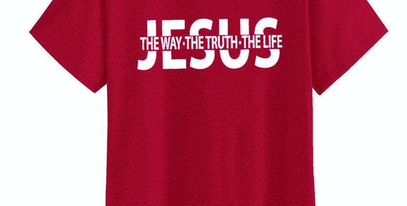 "T恤 ""道路、真理、生命"" 耶穌 十字架 棉質短袖 男女春夏 基督教"
