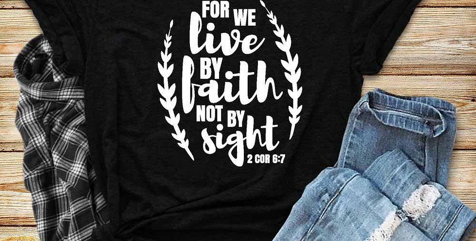 """T恤  """"憑信心非憑眼見""""希伯來書11:1 耶穌 十字架 棉質 短袖 男女春夏 基督教"""
