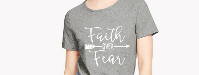 "T恤  ""不要怕,只要信!""路加福音 8:50 耶穌 十字架 棉質短袖 男女春夏 基督教"