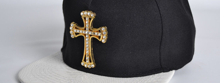 男女新款棉質皮革棒球帽金鑽戶外夏天防曬十字架棉質襯PU皮革帽子