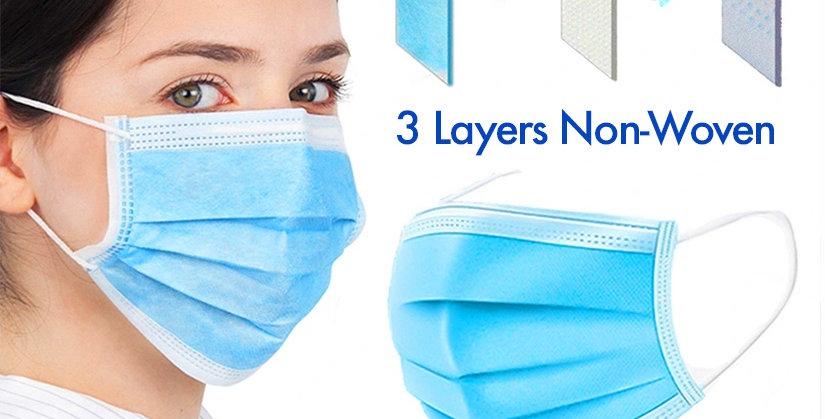 Medical Face Mask 3-Layers Non-Woven Disposable Surgical Mask 50 pc Boxset