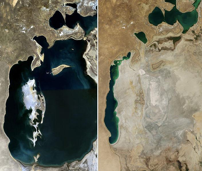 太空總署NASA照片:比較1989 (左圖) 與 2014 (右圖) 死海正在快速消失⋯