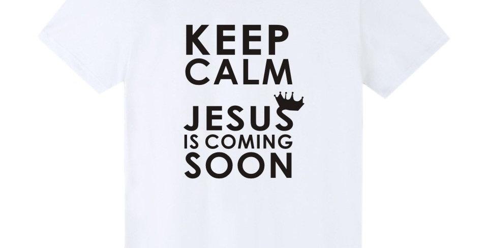 "T恤 ""耶穌快來 當挺身昂首 我們得贖日子近了"" 路加福音 21:28 十字架 棉質 短袖 男女春夏 基督教"