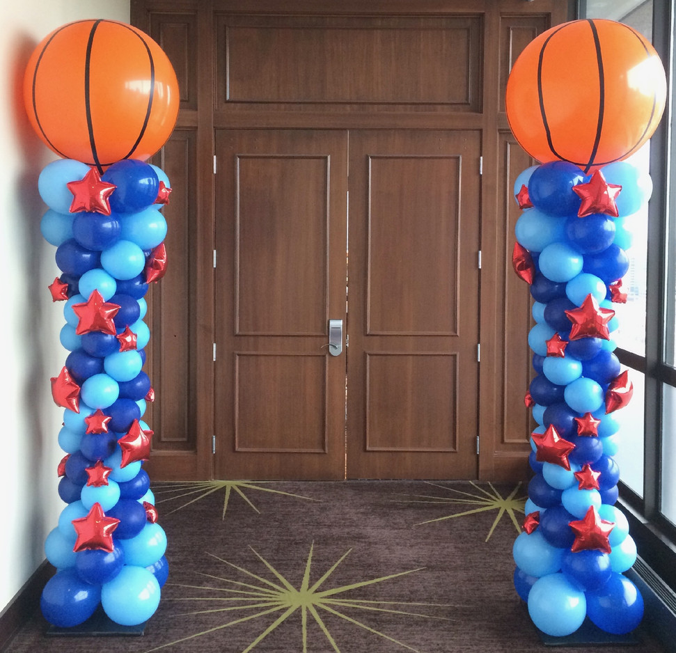 Basketball Balloon Columns w_ Stars