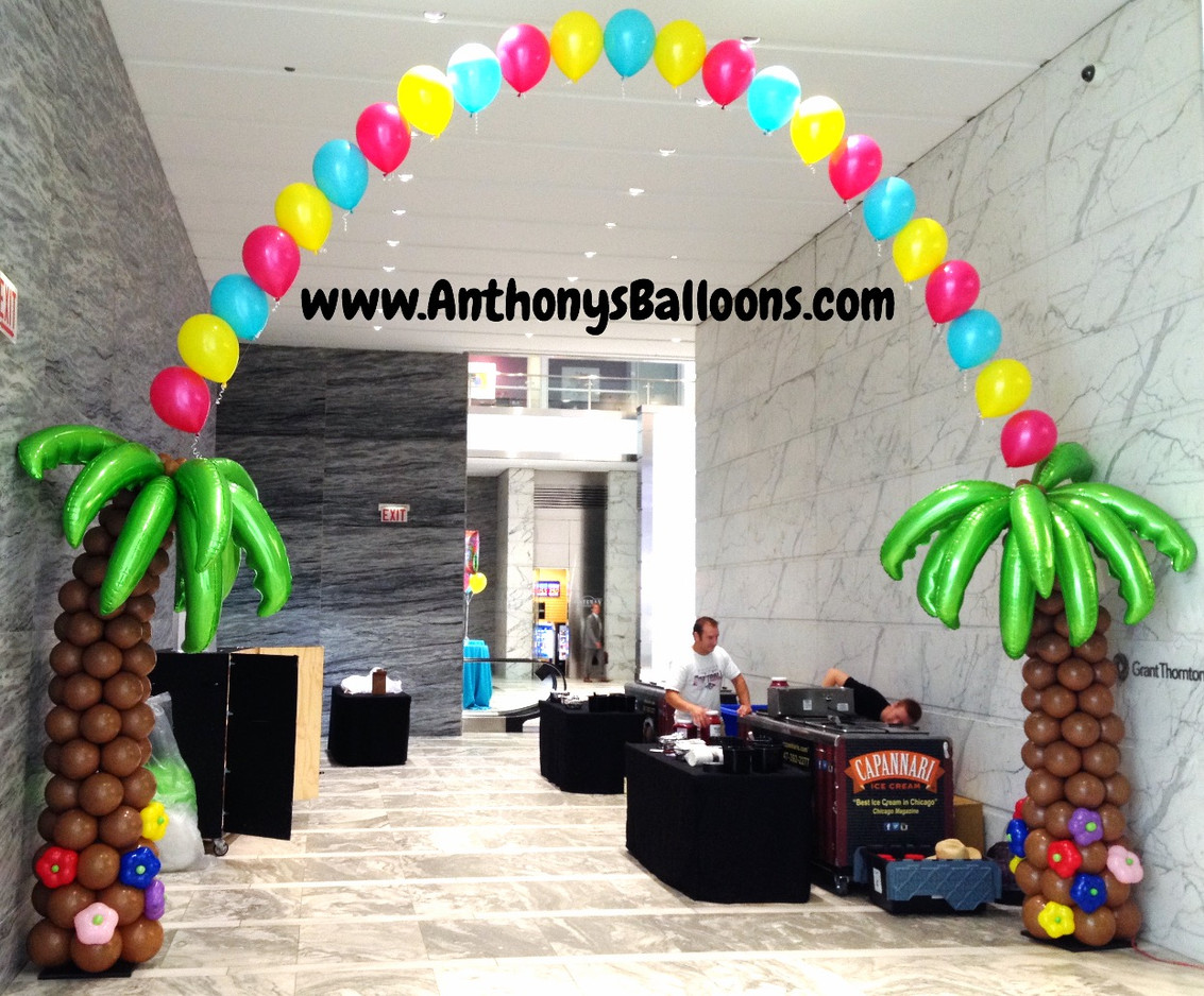 Tropical String Arch with Palm Trees
