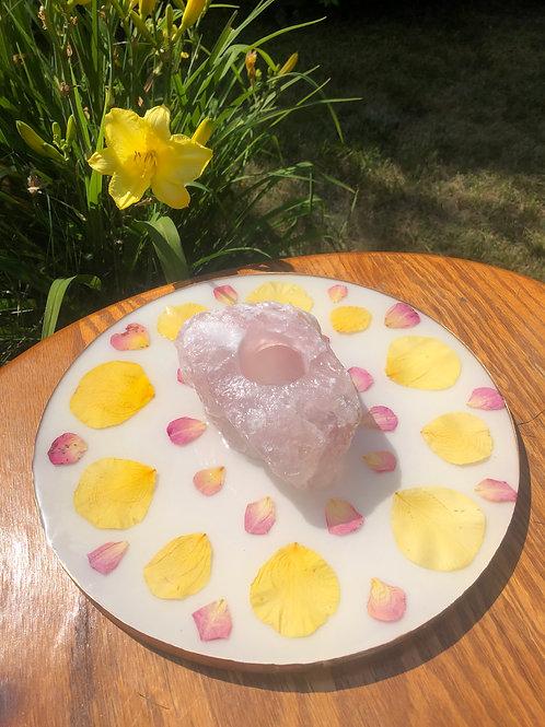 Rose Quartz Mandala Candle Holder