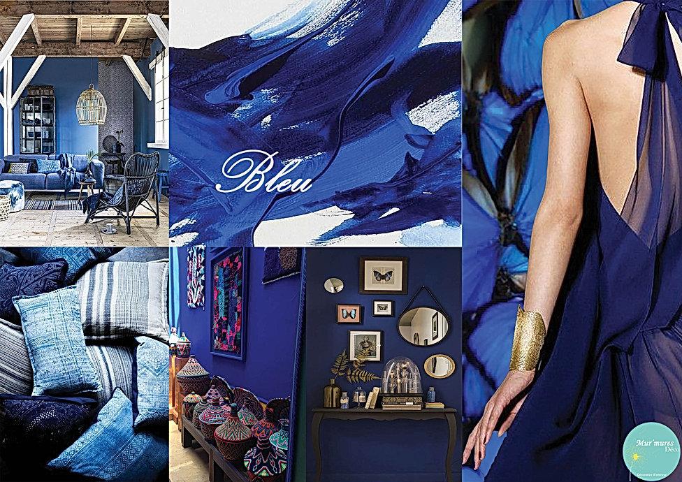 Planche d'inspiration de déco de couleur Bleu réalisée par Sophie Décoratrice de Mur'Mures Déco à Toulouse. Une couleur complexe évoquant le rêve, le ciel et la mer. Cette couleur dégage la confiance, la sérénité et la fraîcheur.