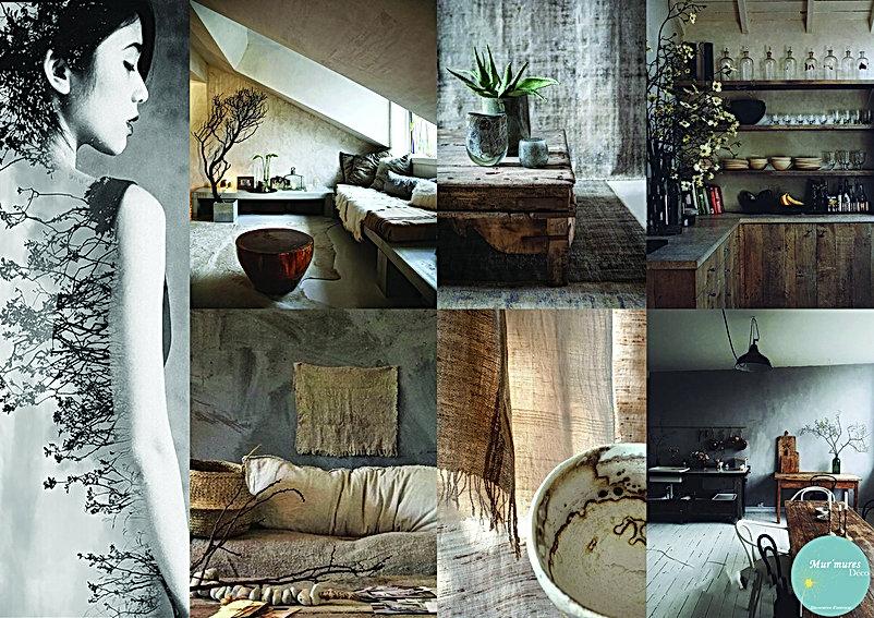 Planche d'inspiration Wabi sabi par Sophie, Mur'Mures Déco, Décoratrice en Haute-Garonne (31) et Montauban (82) : un style épuré, brut et monacal.