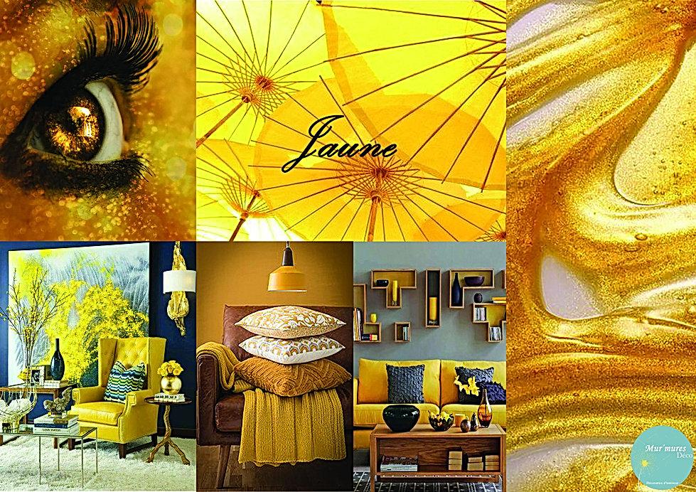 Planche déco jaune réalisée par la décoratrice d'intérieur Ysnel Sophie de Mur'Mures Déco installée à Toulouse. Ce moodboard est solaire, tonifiant et joyeux. Le jaune favorise la concentration, elle est également associée à l'amitié.