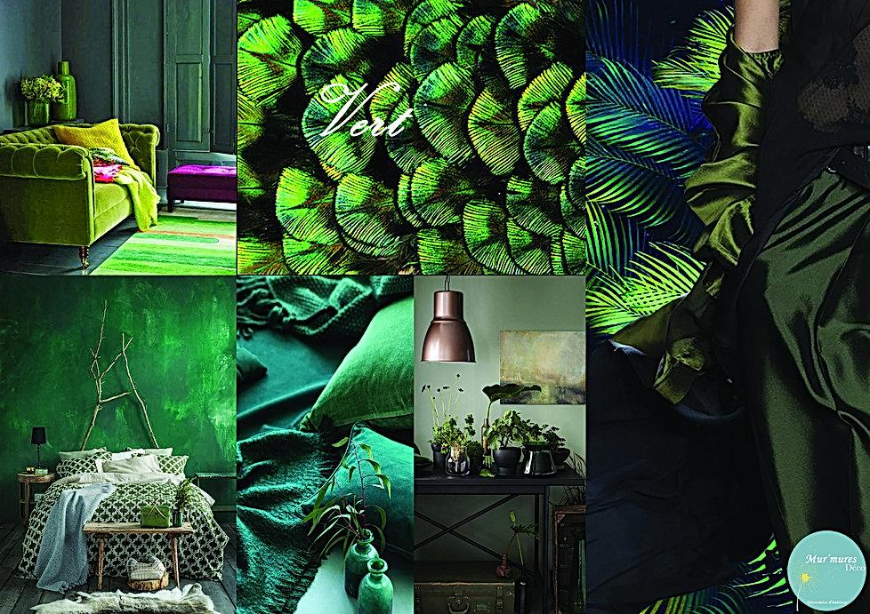 Moodboard décoration ambiance avec du vert réalisé par Mur'Mures déco, décoratrice sur la haute -Garonne, 31. Cette couleur est apaisante mais aussi tonifiante associé au monde végétal. L'ambiance déco se voudra rassurante et stimulante avec un côté anti-stress