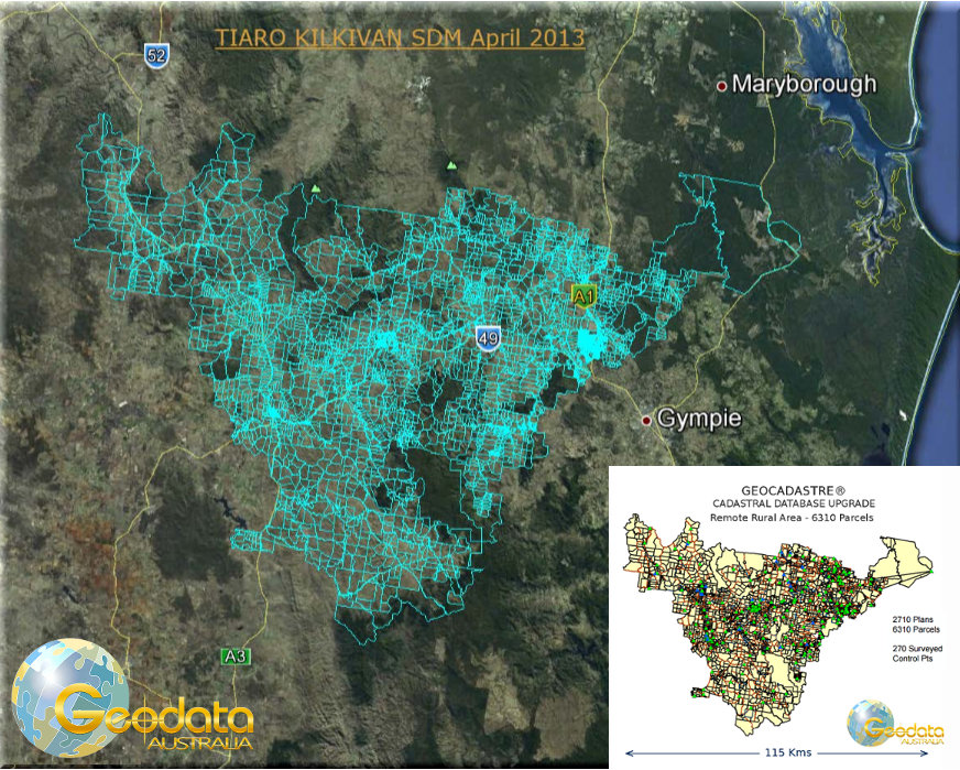 Digital cadastral database upgrade of Kilkivan environs by Geodata Australia for Gympie Regional Council utilising GeoCadastre technology