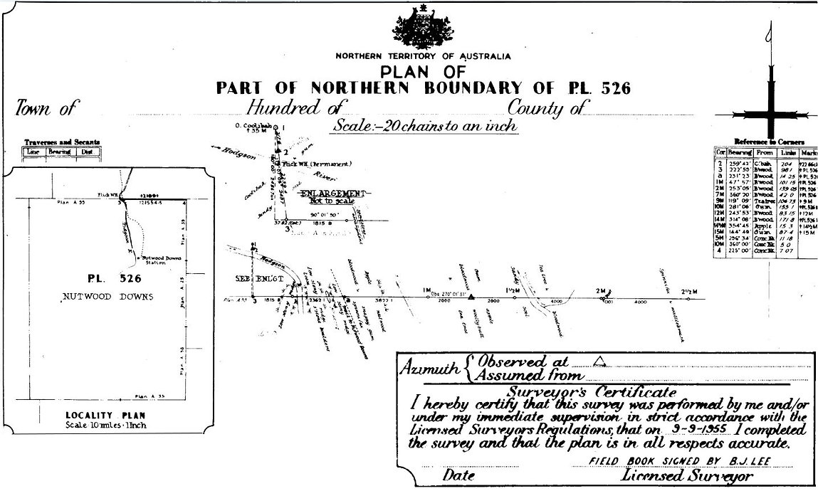 Land Survey plan by B.J. Lee, dated 1955 = Pastoral lease boundaries of Nutwood Downs, Northern Territory, Australia - Geodata Australia