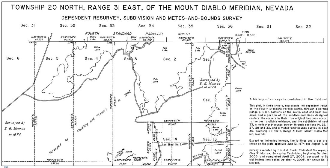Old survey plans dated 1882 and 1884 of area designated for BLM upgrade east of Mount Diablo Meridian, Nevada USA - Geodata Australia Proof of Concept Project