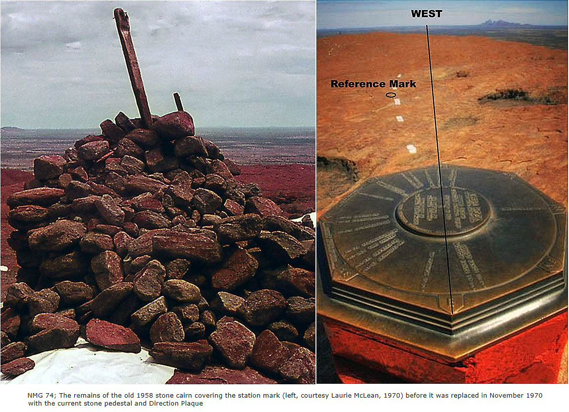 Land survey station mark - Original stone survey cairn Ayers Rock, Australia, 1958