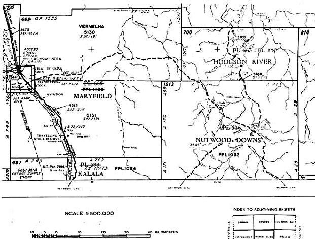 Land survey of boundaries, Hodgson River/Nutwood Downs region - Geodata Australia, Cadastral Surveyors