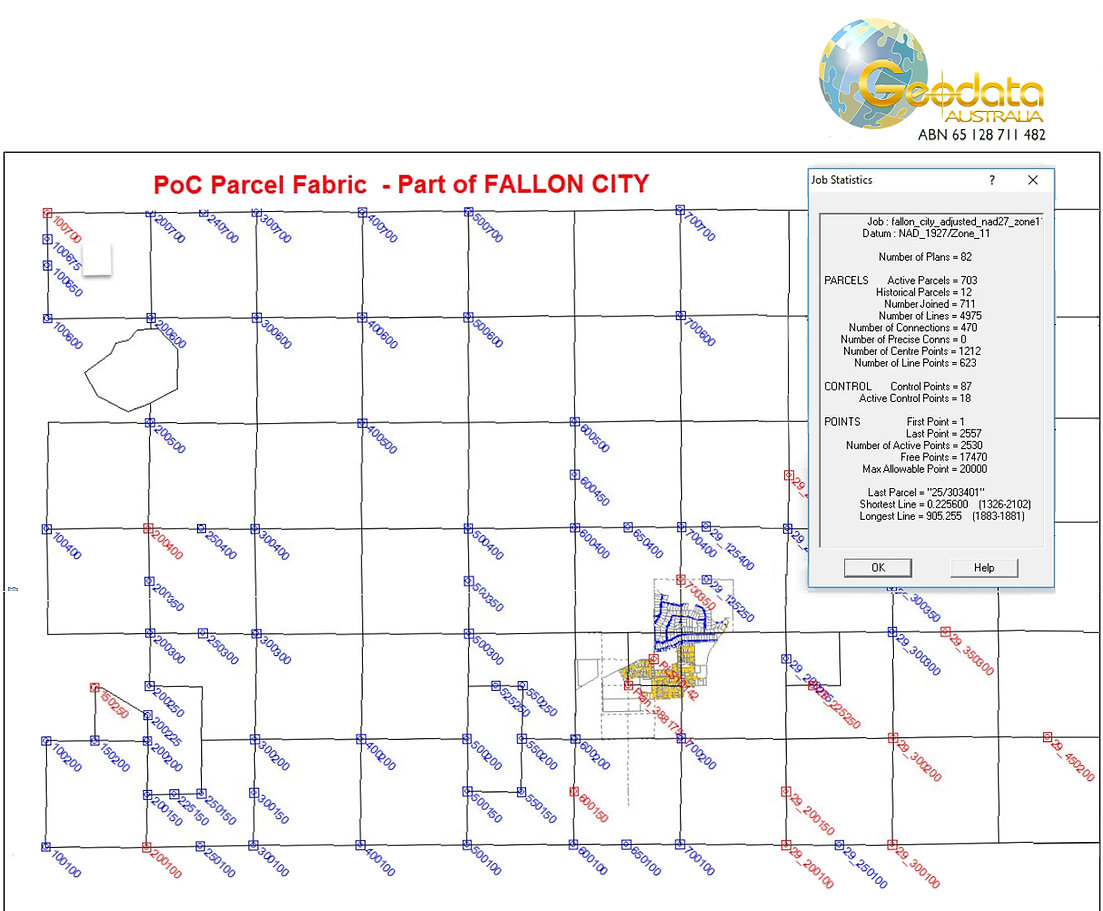 Proof of Concept & cadastral parcel fabric, Fallon City, Nevada by Geodata Australia using GeoCadastre software - Project for BLM, USA