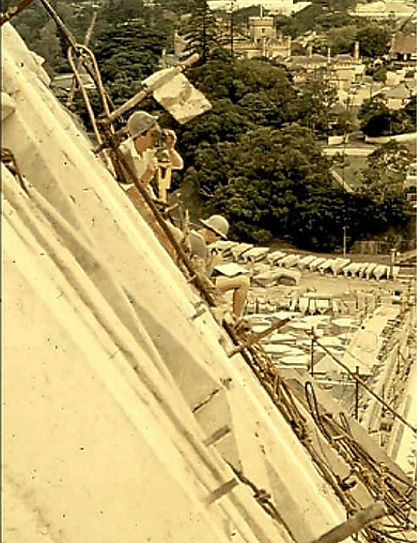 Sydney Opera House roof construction project - Michael Elfick taking a survey position on the roof structure during its construction - a Geodata Australia project of interest