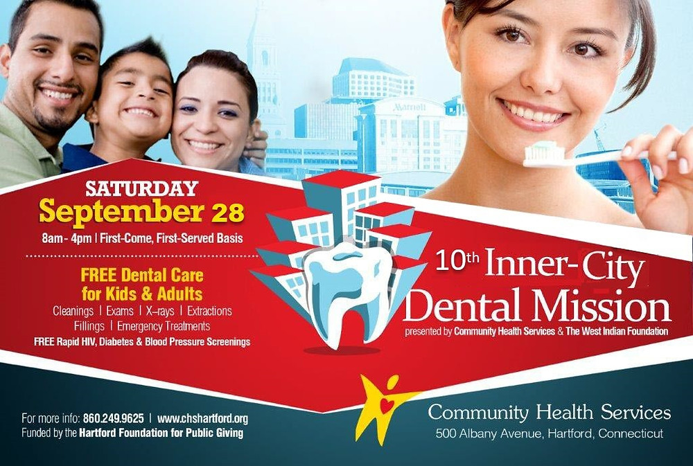 Come Join us on Saturday, September 28th, 2019 from 8 am - 4 pm For our Annual Inner City Dental Mission! CHS will be offering FREE dental care for both kids and adults! Services offered include cleanings, exams, x-rays, fillings and extractions