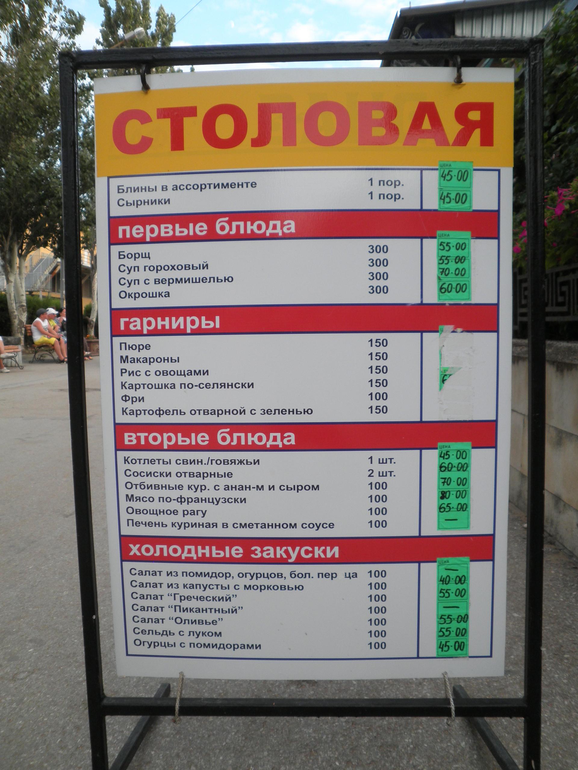 цены на еду в феодосии