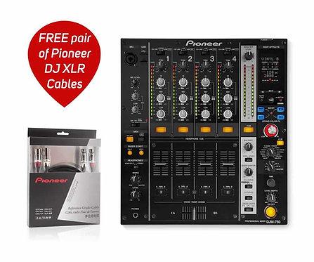 DJM-750MK1 4Ch Pro Mixer /w FREE Pair DAS-XLR030R Cables