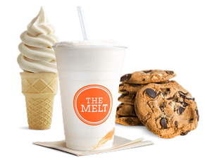 Melt Soft Serve cone, Snickerdoodle Shake  and Chocolat Chip cookies