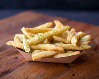 Thin-cut Idaho russet potatoes sprinkled with melt spice