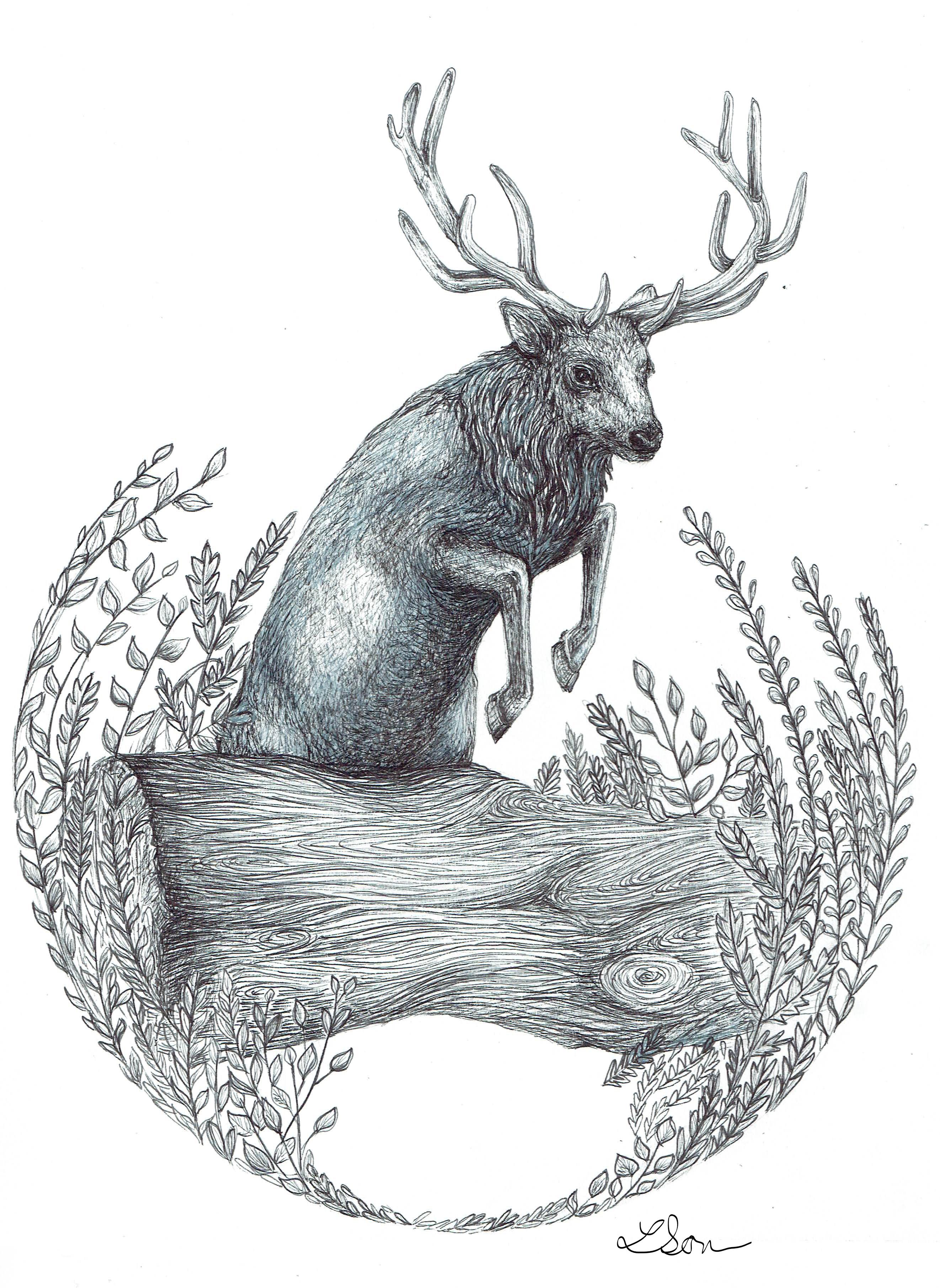 Elk Jumping Log