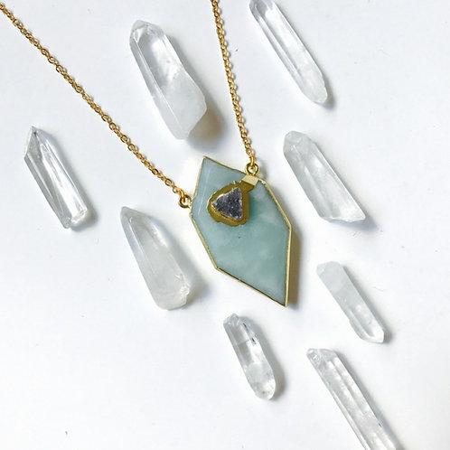 Amazonite & Druzzy Crystal Necklace