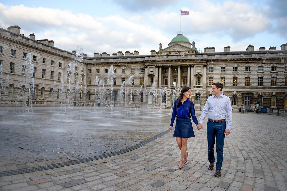 couple engaged somerset house london
