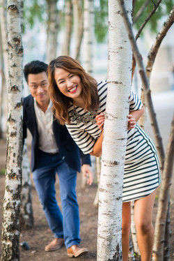 fun asian couple during engagement