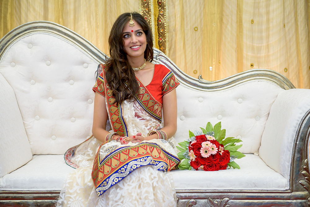 indian bride during engagement ceremony
