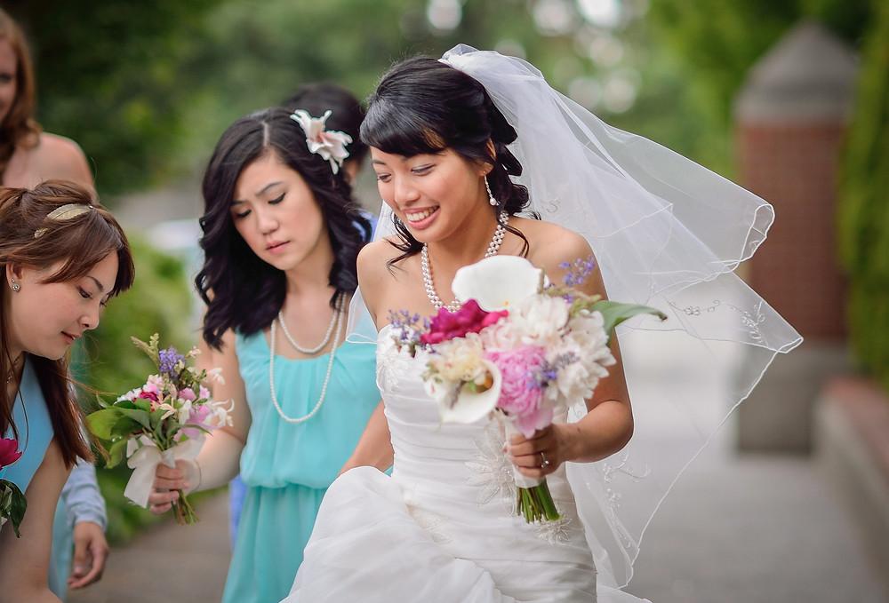 candid photo bride before wedding ceremonya