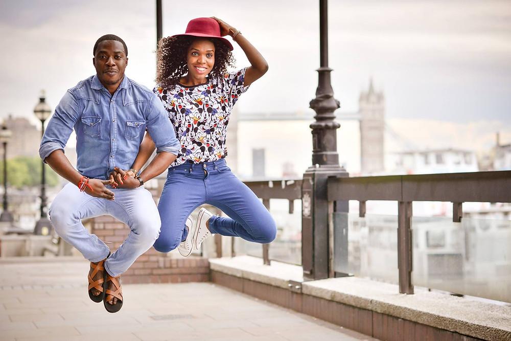 creative pre-wedding engagement photo session london