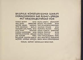 Rudolf von Larisch: Tipografía artística, 1900