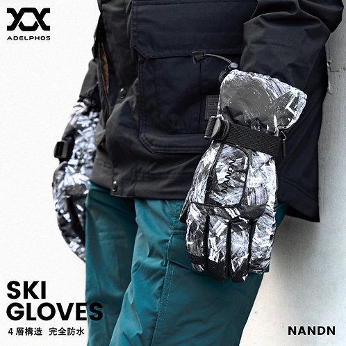 adelphos スキーグローブ メンズ レディース キッズ 防水 防寒 4層構造 スキー 手袋 グローブ インナーフリース 紛失防止 止水ファスナー 滑り止め