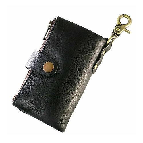 adelphos 多機能 ソフトレザー キーケース 本革 6連フック 360度カラビナ カード入れ 小物入れ 付き メンズ