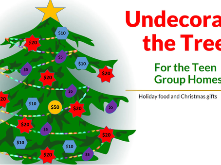 Undecorate the Tree for the Girl's and Boy's Group Homes