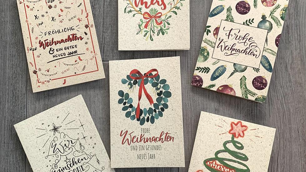 Weihnachtskarten-Set Graspapier