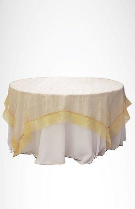 Cubre mantel de organza hilos dorados