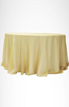 Mantel blanco (base) mantel organza dorado (sobre mantel)