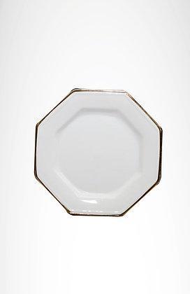 Plato octogonal borde plateado