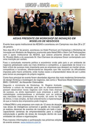 AESAS PRESENTE EM WORKSHOP DE INOVAÇÃO EM MODELO DE NEGÓCIOS
