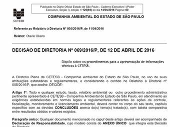 Decisão de Diretoria Nº 069/2016/P, de 12 de abril de 2016