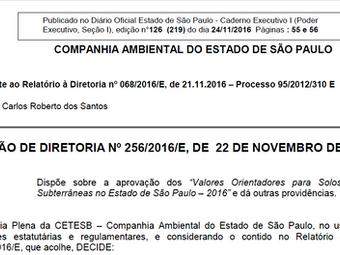 DECISÃO DE DIRETORIA Nº 256/2016/E, DE 22 DE NOVEMBRO DE 2016.